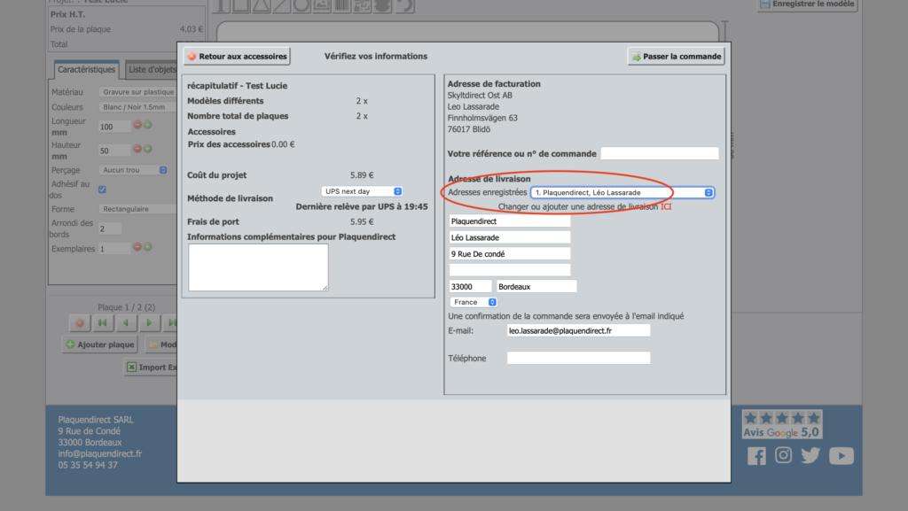 Capture d'écran ou sélectionner l'adresse de livraison adéquate.