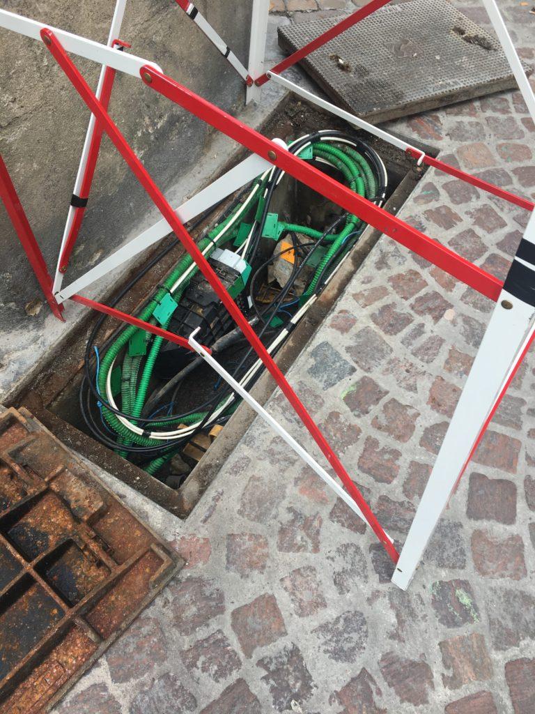 Chantier de câblage en centre ville
